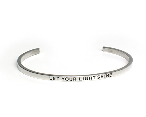LET YOUR LIGHT SHINE:Gift for Her,Mantra Bracelet, Inspirational gift,100% Guaranteed,Perfect Gift.