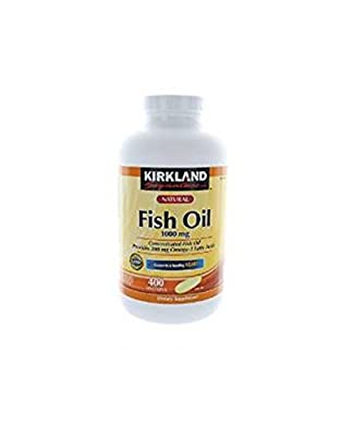 Kirkland Signature Omega-3 Fish Oil Concentrate, 400 Softgels, 1000 mg Fish Oil with 30% Omega-3s (300 mg) 1200 Count Pack (j8kmh12)