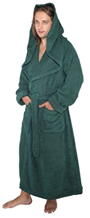 Arus Men's Monk Robe Style Full Length Long Hooded Turkish Terry Cloth Bathrobe, P/S, Hunter Green