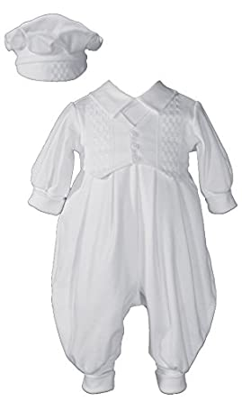 Little Things Mean a Lot Finn Cotton Christening Romper, White, Small (Size = 0-9 Months or 8-13 lbs)