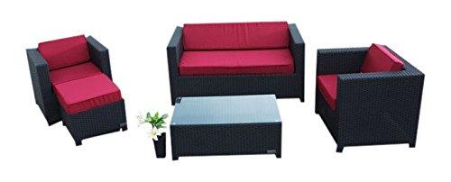 Outflexx Loungegarnitur, 2 Sitzer, 2 Sessel, 1 Tisch und Hoker, 1125 Polyrattan w1, schwarz