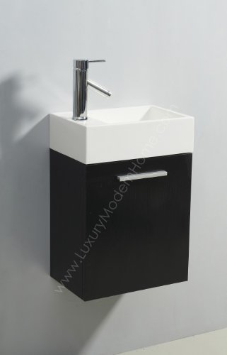 vs ALEXIUS   BLACK 16 quot  Inch Small Vanity Sink   Floating Wall Hung Mount Bathroom Modern Contemporary Narrow Tiny Short Cabinet cultured marble. Best Rated Bathroom Vanity Under  200   InfoBarrel