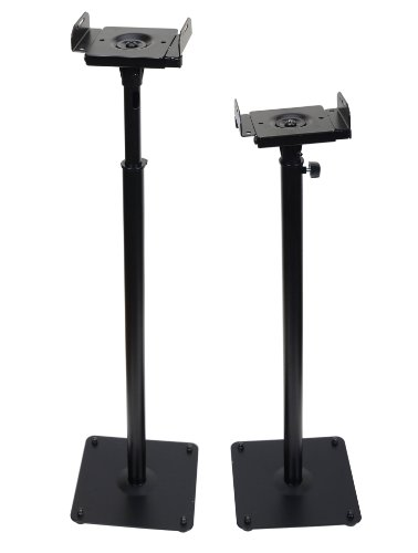 Videosecu Black Heavy Duty Steel Speaker Stand For Surround Sound Speakers - One Pair 1B5