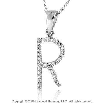 14k White Gold Large Casual Fun Diamond ^R^ Initial Pendant