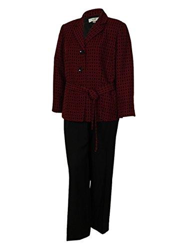 Le Suit Women's Two Color Business Suit Pant Set (24W, Ruby/Black)