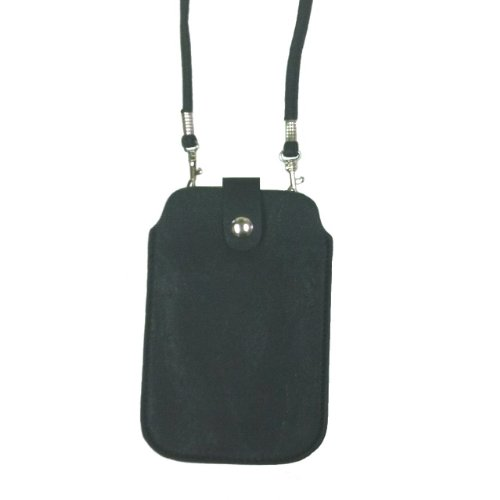 Leather Neck Pouch for Phone  - Black