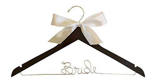 Bride Hanger for Wedding Dress Mahogany Wood Premium Hanger with Silver Wire