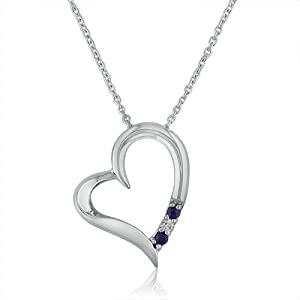 "3 Stone Sapphire and Diamond Open Heart Pendant Necklace in Sterling Silver (18"" Chain)- Cherry Wood Box by Amanda Rose Collection"