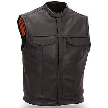 First Manufacturing Men's Concealed Snaps Collar Clean Look Vest (Black, X-Large)