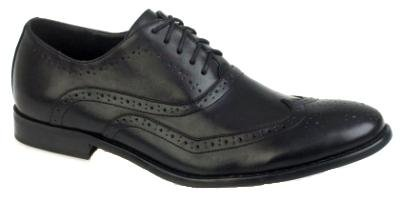 MENS ITALIAN DESIGNED BROGUES FORMAL SMART LACE UPS FAUX LEATHER GENTS SHOES BLACK SIZE 10