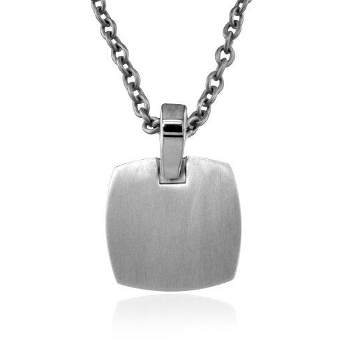 Men's Grey Titanium Square Dog Tag Pendant Necklace , 20