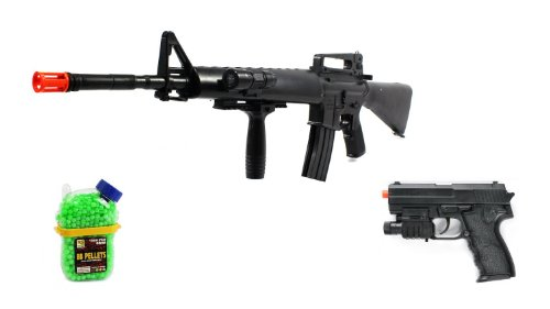 (Combo) Black Guard Vietnam M16-A2 Spring Airsoft Gun Flashlight Fps-250 W/ Vertical Foregrip, Full Length Assault Rifle + Airsoft Pistol W/ Flashlight 180-Fps + 1000 Bb'S Holster Container Clip On