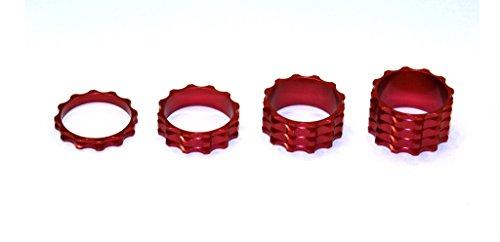A-Head Vorbau Aluminium Spacer Set 1 1/8 Zoll 5 10 15 20 mm Headset rot