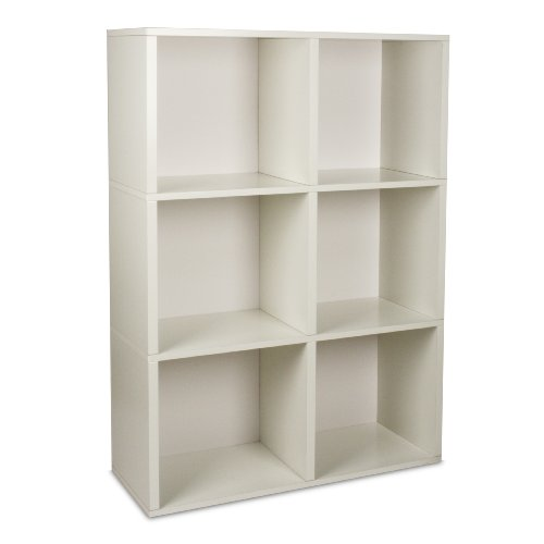 Way Basics Tribeca Eco-Friendly Modern 3-Shelf Bookcase with Adjustable Dividers, White