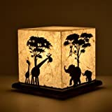 Table Lamp Acrylic & Handmade Paper - Jungle Mania - Off White