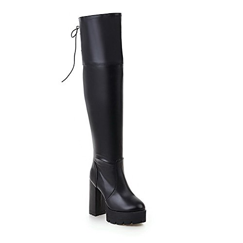 voguezone009-womens-soft-material-round-closed-toe-solid-high-top-high-heels-boots-black-39