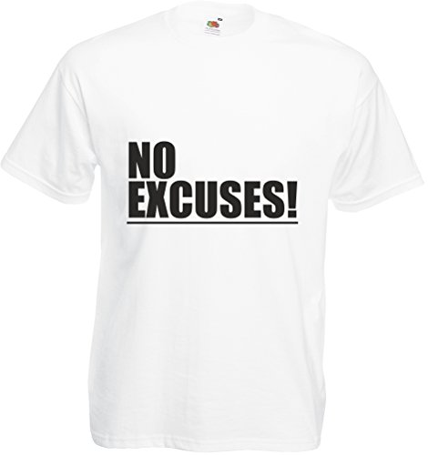 No Excuses!, Adults Printed T-Shirt - White/Black L front-993300