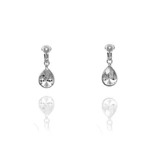 Basics Sterling Silver White Cubic Zirconia Drop Clip On Earrings