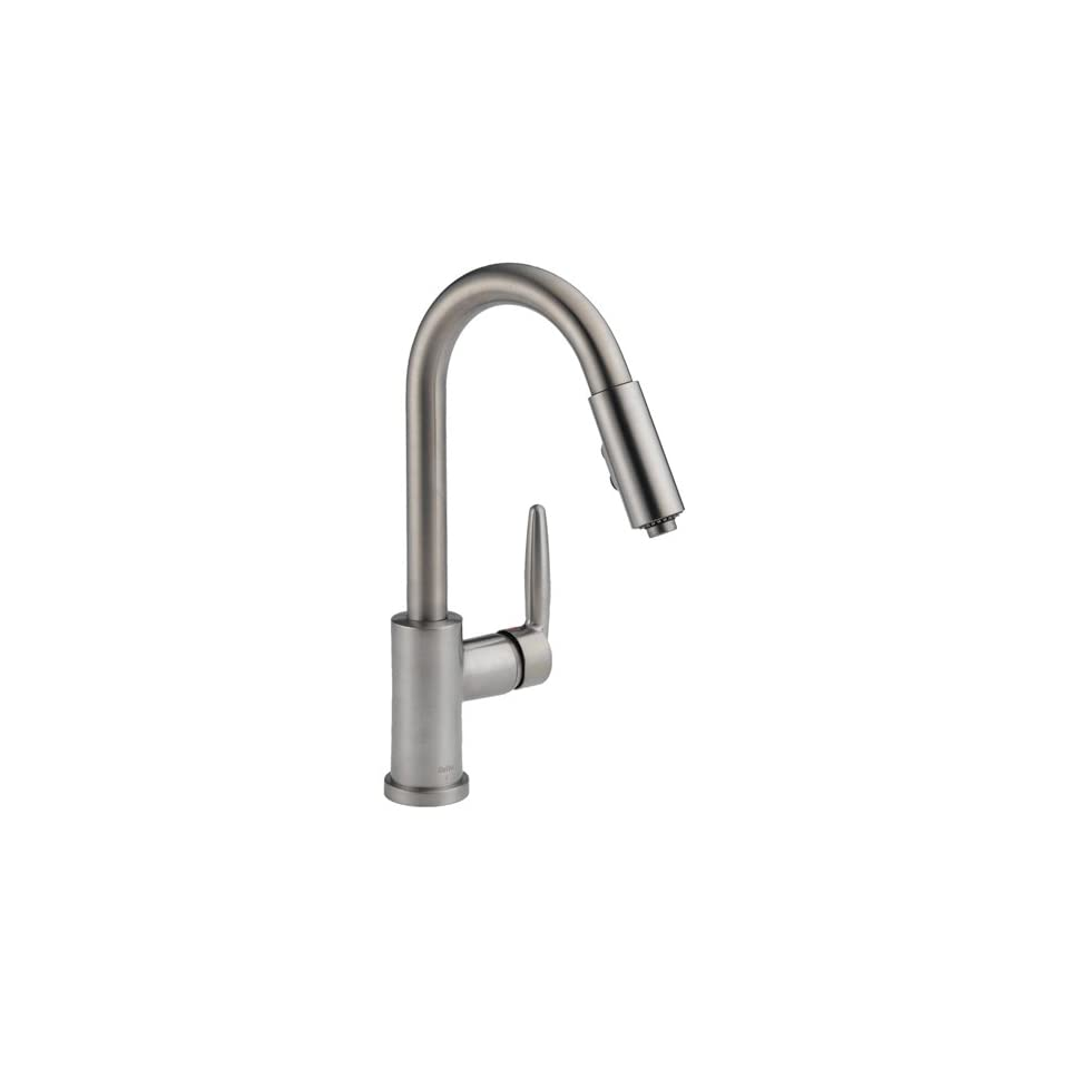 Delta 985 SSSH Grail Single Handle Pull Down Spout Kitchen Faucet, Stainless Steel   Touch On Kitchen Sink Faucets