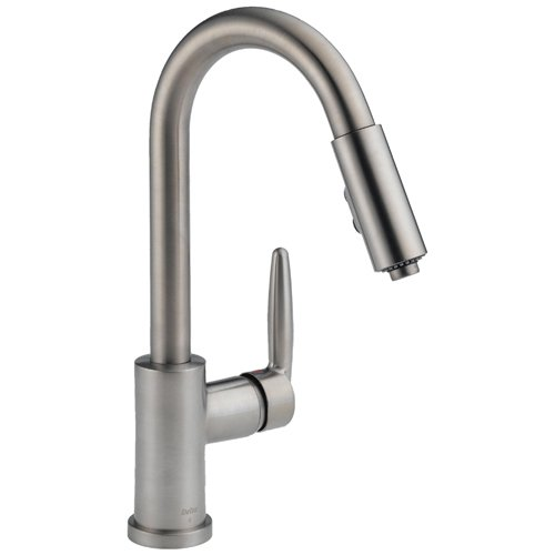 Grest On Delta 985 Sssh Grail Single Handle Pull Down Spout Kitchen Faucet Stainless Steel