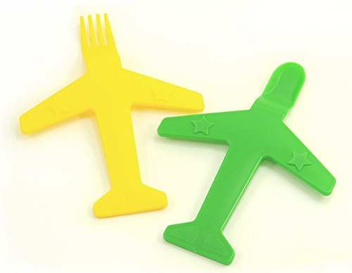 Airplane Fork & Spoon Set - by Luso Aviation (Yellow / Green)