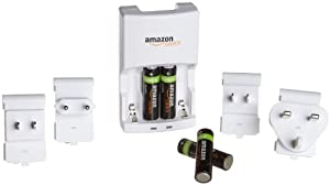 AmazonBasics AA NiMH Precharged Rechargeable Batteries 4-Pack and Charger with Plug Adapters for the US, UK, European Union, and China