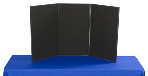 Displays2go 3-Panel Tabletop Display Board, 54 x 30-Inches - Black and Gray Velcro-Receptive Fabric (3P5430BKGR) (Panel Display compare prices)