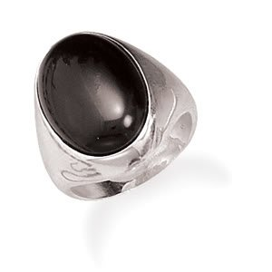 Sterling Silver Oval Black Onyx Ring / Size 10