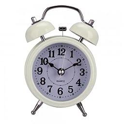 3 Metal Dial Analog Alarm Clock Beige