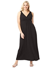 Plus Crossover V-Neck Twisted Shoulder Maxi Dress