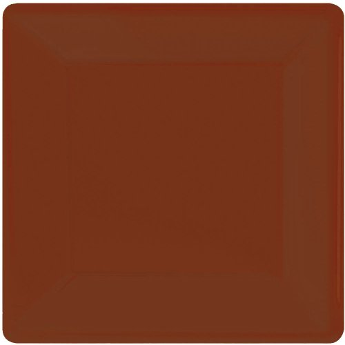 Chocolate Brown Square Paper Dinner Plate 20ct