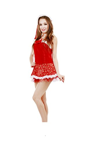 JUNPAI Women's Santa Dress Including Hat and Dress