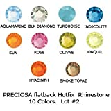 Lot 500 pcs #43811612 PRECIOSA Crystal Hotfix Flatback Rhinestone Chaton Rose VIVA 12 ss20 ~ 4.8mm. 10 colors (2). Wholesale price!