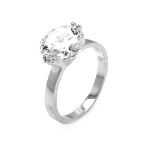 Two Prong CZ Cubic Zirconia 4.75 CT Equivalent Rhodium Coated Engagement Wedding Ring Band for Women (Size 5 to 9) - Size 7