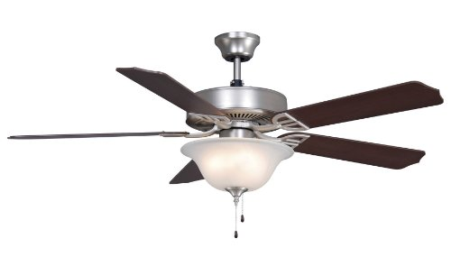 Fanimation BP220SN-220 52-Inch Aire Decor Builder 5-Blade Ceiling Fan with 220-Volt Bowl Light Kit, Satin Nickel