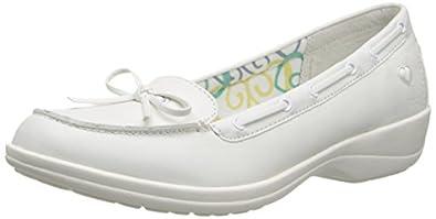 Nurse Mates Women's Sara Boat Shoes,White,6 M