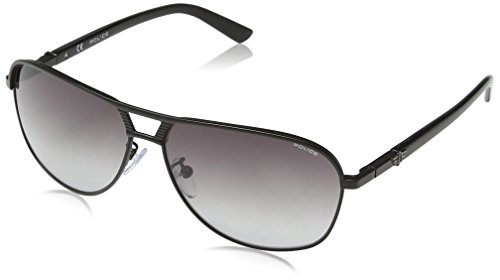 Police - Occhiali da sole S8849 Flash 2 Aviatore, Uomo, SEMI-MATT BLACK FRAME / SMOKE GRADIENT LENS
