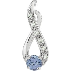 Genuine IceCarats Designer Jewelry Gift 14K White Gold Tanzanite & Diamond Pendant. .04 Ct Tw/04.00 Mm Genuine Tanzanite And Diamond Pendant Tanzanite & Diamond Pendant In 14K White Gold