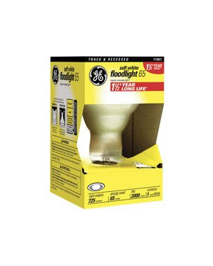 GE Longlife Indoor Reflector Floodlight Bulb, R-30, 65 Watts