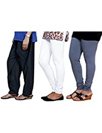 Indistar Women's Chaudi Lace Semi-Patiala SalwarWith Premium Cotton Casual Legging (2 Pieces)- (Combo Pack Of 3)
