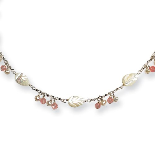 Sterling Silver Cultured Pearl/Mother of Pearl & Cherry Quartz Necklace