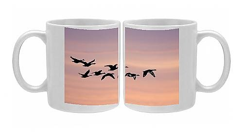 Photo Mug Of Canada Geese - In Flight At Dawn Silhouette Against Morning Glow front-636925