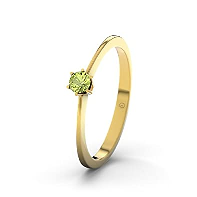 21DIAMONDS Auckland Peridot Brilliant Cut Women's Ring 14 Carat (585) Yellow Gold Engagement Ring