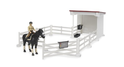 Bruder Small Horse Stable with Horse and Woman, White