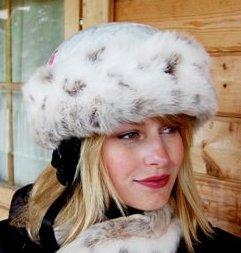 Ski Helmet Band Cover. Lynx Snow Faux Fur