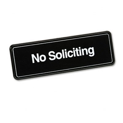 Buy avt83631 no soliciting sign brown white 9″ x 3″