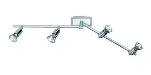 Trio-Leuchten 820510405 Power-LED-Balken 4 Spots á 3x1W GU10 mit Gelenk L: max. 85cm alufarbig/chrom