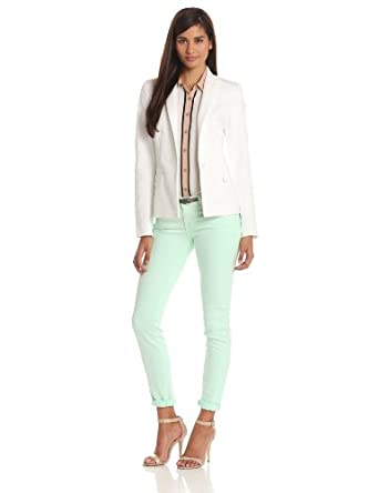Anne Klein Women's Petite One Button Blazer, White, 4