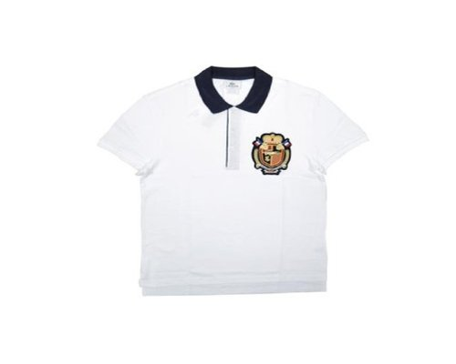 Lacoste Short Sleeve Contrast Collar Pique Polo With Crest : White/Navy Blue (Size L / Eur 6)