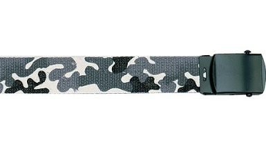 """Army Camouflage Solid Color Military Web Belt (City Camo Belt - Black Buckle, 44"""")"""